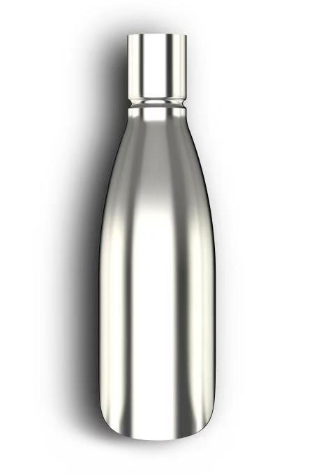 water bottle with mirror effect surface
